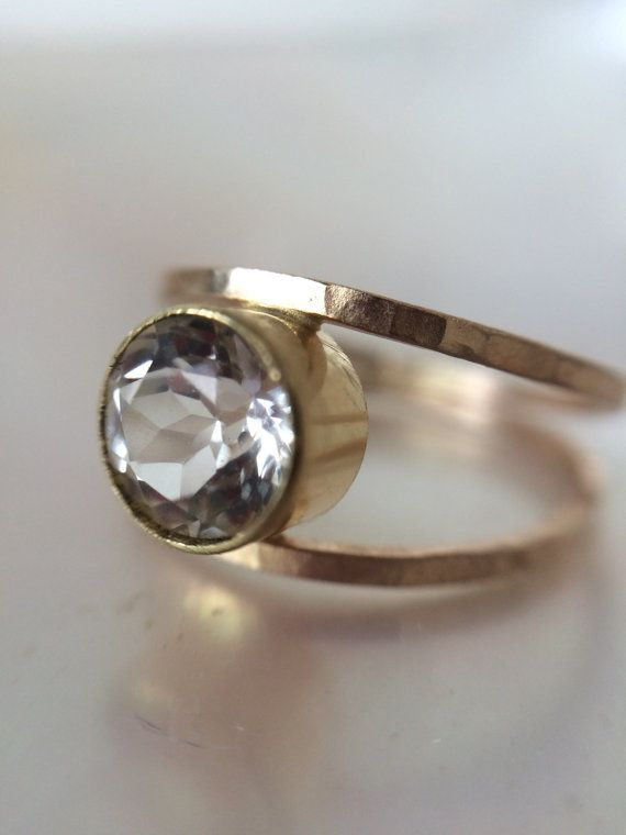 18kt Gold 14karat Gold White Topaz Engagement Ring- Delicate Gold Bands-hammered Gold Rustic Organic-Eco Friendly Wedding - conflict Free Stone $1299 melissatysondesigns.etsy.com