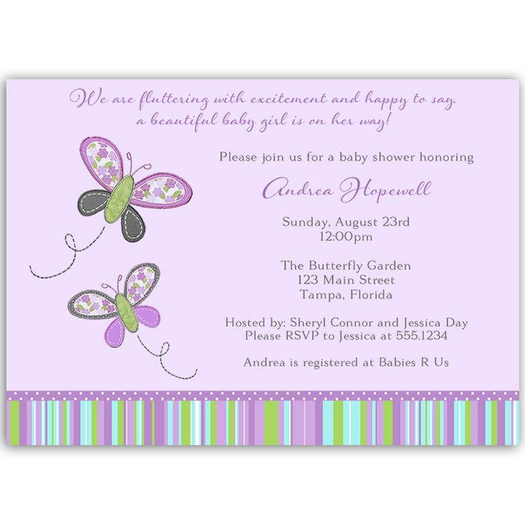 butterfly blossom purple baby shower invitation