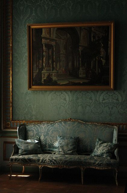 Dark green damasks. Kuskovo palace interior, Moscow.  HSN.com #evanora #DisneyOz