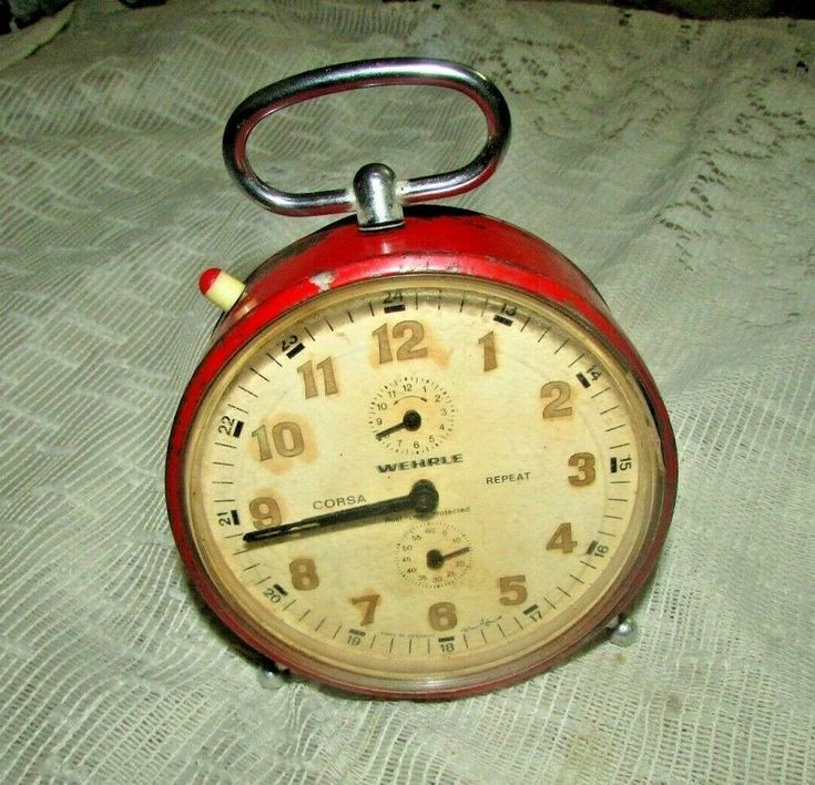 Vintage Red Alarm Clock Wehrle Made