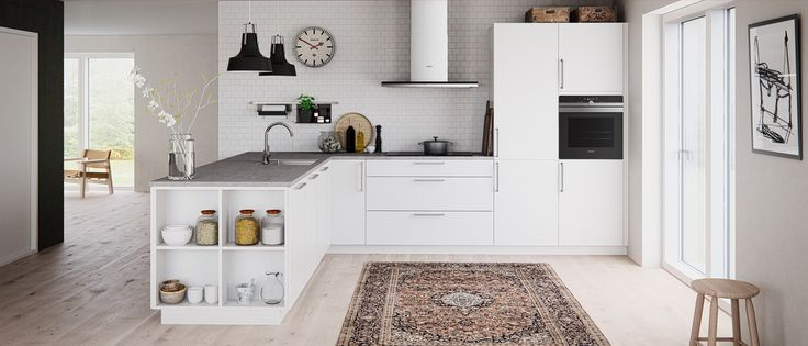 Kvik Veda kitchen - surpricingly low prices kitchen. With open shelfes linking your kitchen space to your living space. Lamps are exclusive Kvik design as well :-)