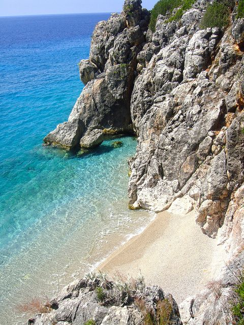 Beautiful small beach between Jale beach and Gjipe beach, south Albania