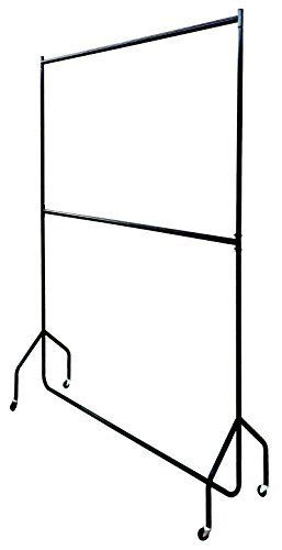 Two Tier Heavy Duty Clothes Rail Garment Hanging Rack In Black - Metal Construction (4ft Long x 7ft Tall)