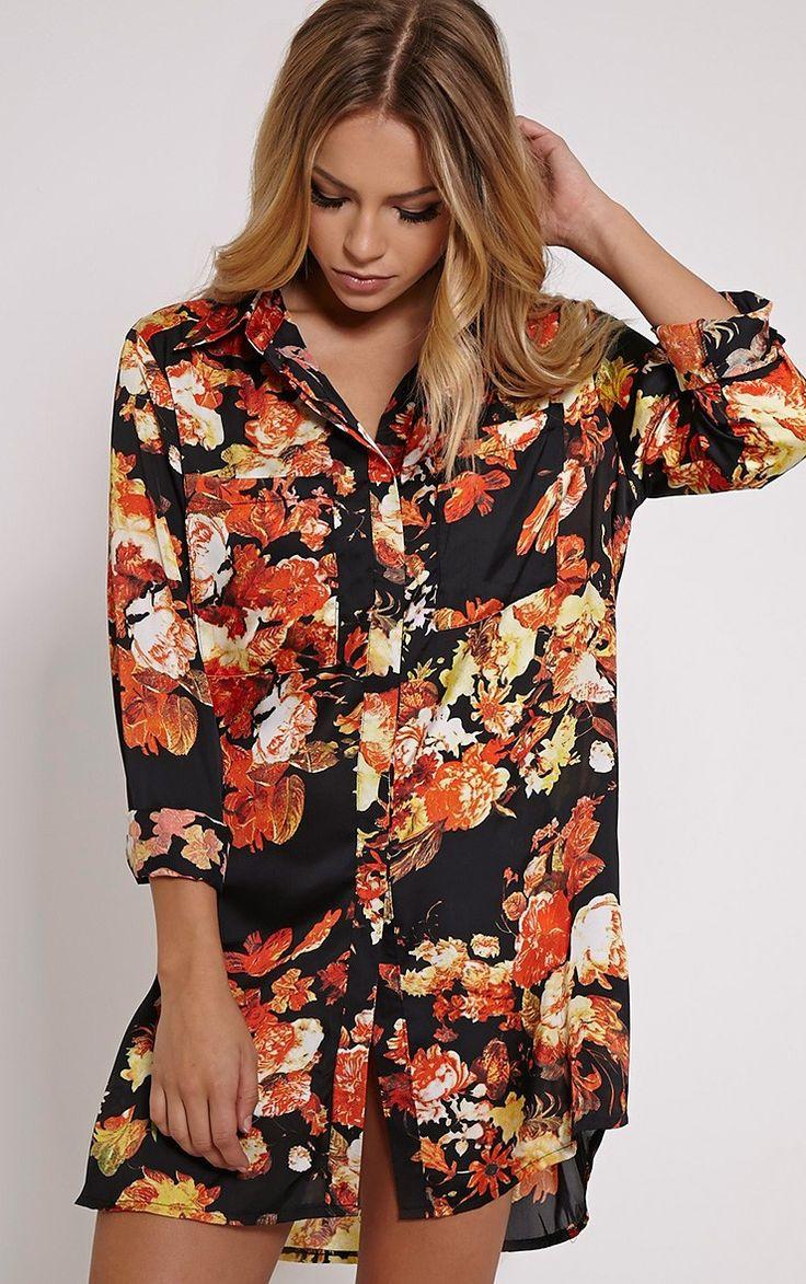 Tricia Black Floral Print Shirt Dress