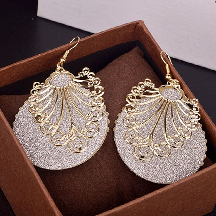 Sale Women Elegant Dangle Earring Double Layers Ear Hook Round Hollow Long Earrings For Women Fashion Jewelry Gift Drop Shipping
