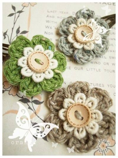 crochet flower with button