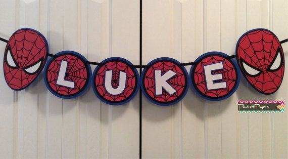 Custom Spiderman Party Banner por Flair4Paper en Etsy