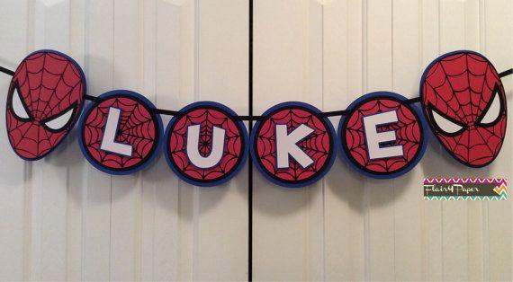 Custom Spiderman Party Banner por Flair4Paper en Etsy