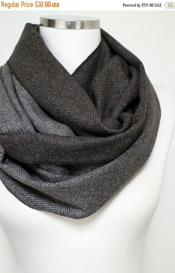Cashmere Herringbone Infinity Scarf, Brown Men Women Scarf, Unisex Scarf Infinity Scarves,Warm Scarf, Wool Scarf, Winter Fashion  Perfect for Men or