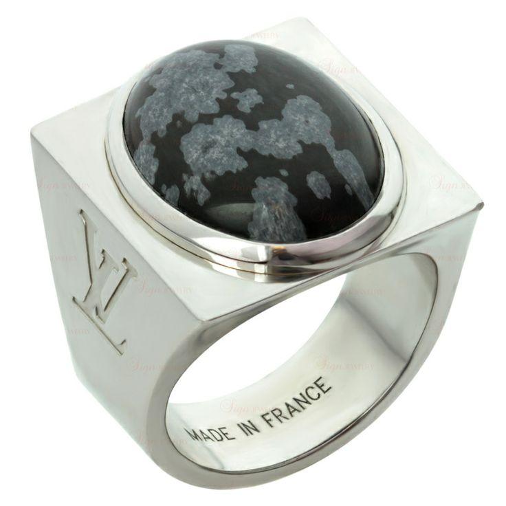 LOUIS VUITTON Snowflake Collection Silver Obsidian Ring
