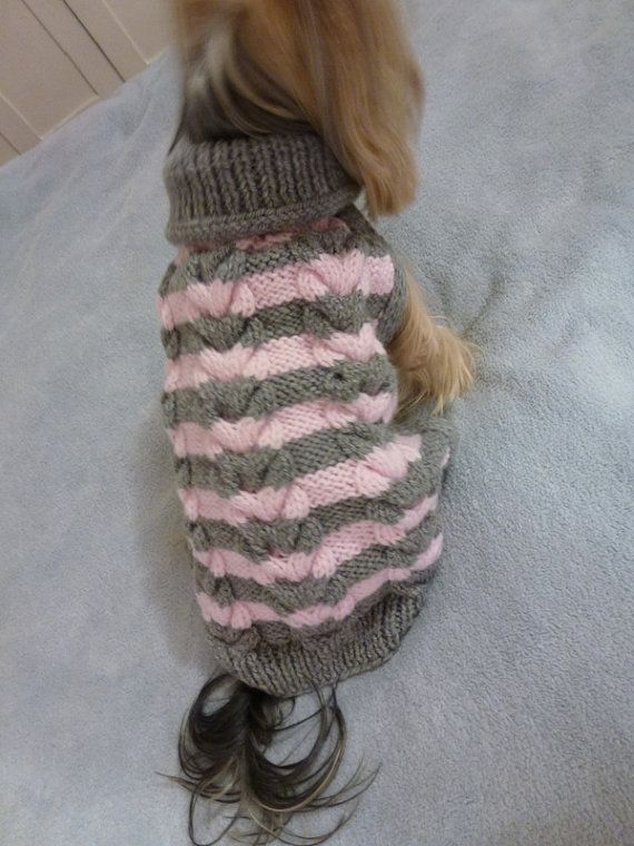 Hand knitted dog sweater in Cable Design от PollyandMolly на Etsy