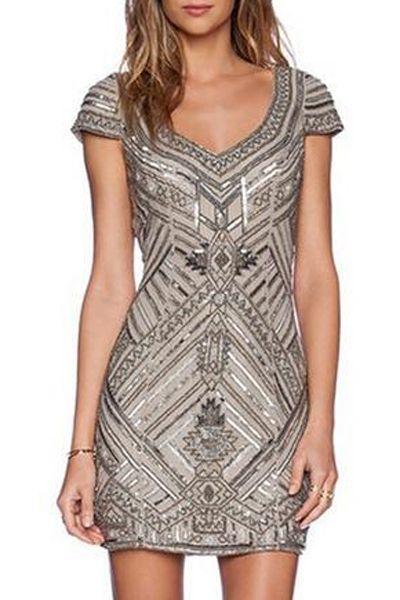 Geometric Print Bodycon Dress SILVER: Bodycon Dresses | ZAFUL