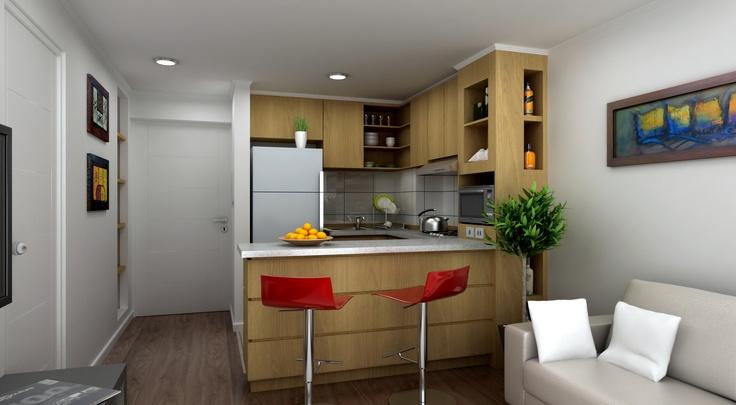 Cocinas americanas ideas departamentos peque os for Muebles departamento pequeno