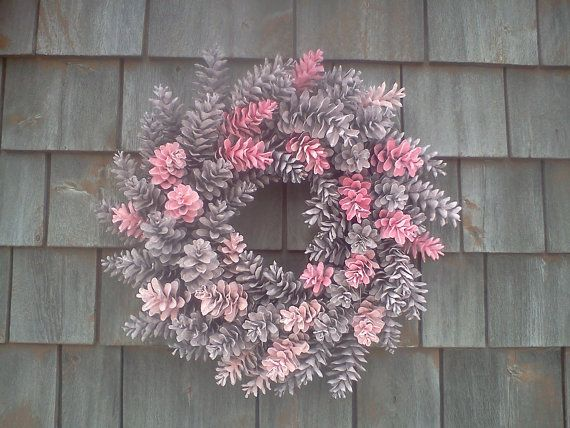 Hey, I found this really awesome Etsy listing at https://www.etsy.com/listing/122064806/pretty-in-pink-maine-pinecone-wreath-19