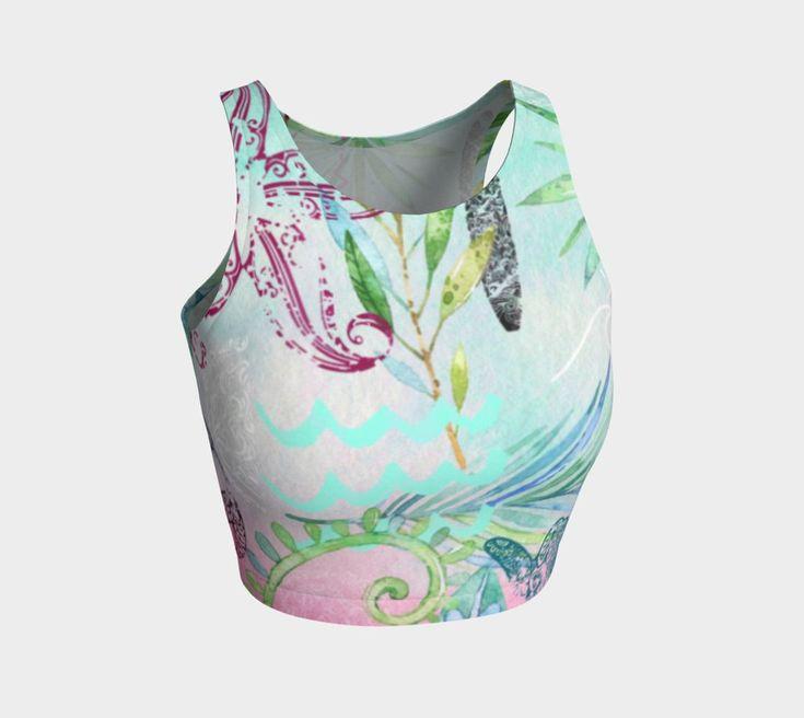 Minty Pink Tropical yoga/swim crop top. For more beautiful, eco, handmade yoga and swim leggings, crop tops, mini shorts, kimonos, beanies, and more, go to www.sleepysweats.com.  #leggings #highquality #eco #organic #performance #yoga #surf #surfwear #swim #summer #swimwear #trend #scarves #scarf #beanie #headband #buff #fashion #2018 #kimono #robe #peignoir #bags #totes #handbag #neoprene #gift #idea #lady #woman #mom #babyshower #pregnancy #beautiful #sweatshopfree #fairtrade #fairwages…
