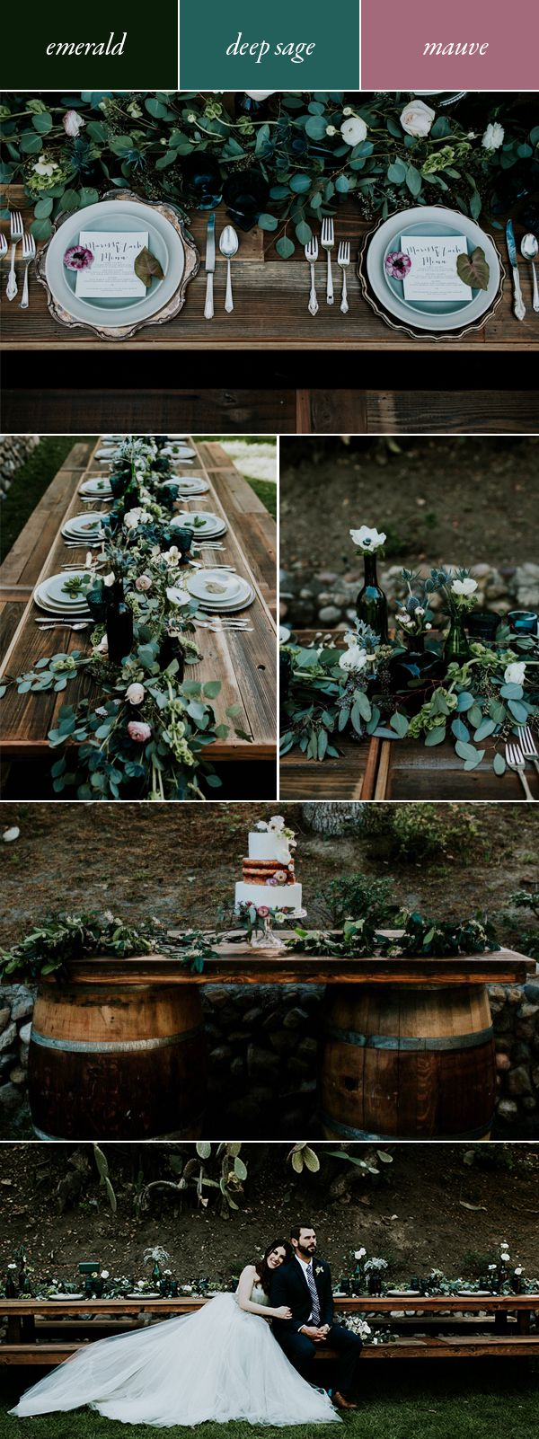 Try emerald, deep sage, & mauve for a moody, romantic air   Image by Jessie Schultz Photography