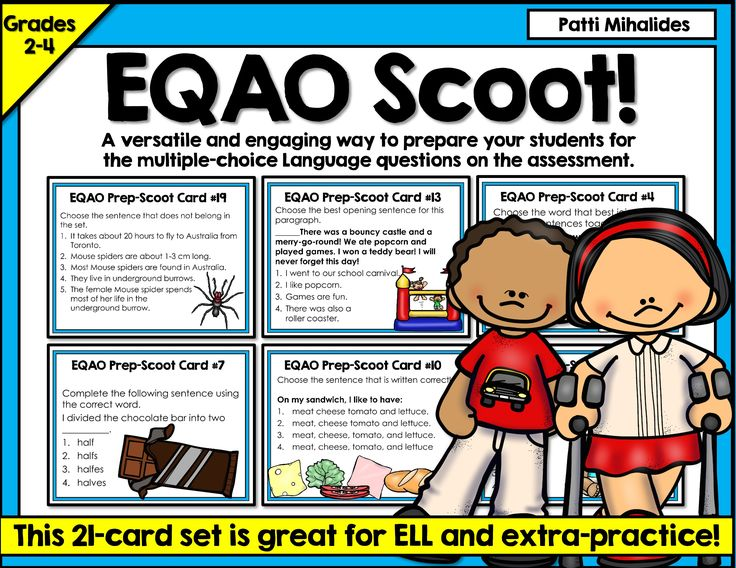 I designed these cards to prepare our Grade Three students for the multiple choice questions in the Language booklet of the EQAO assessment. They'll work for any second through fourth grade class, but they were specifically designed with the Ontario standardized test in mind.