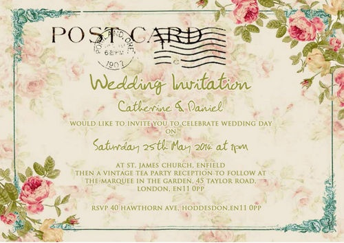 Best Shabby ChicVintagePostcard Wedding Invitations Images