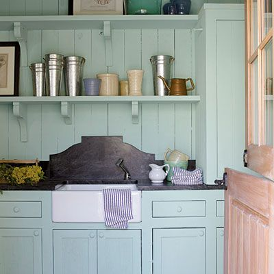 I like this sink and backsplash, and open shelves ... laundry room?