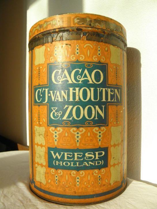 Groot Cacao blik van C.J van Hoten en Zoon Weesp Holland