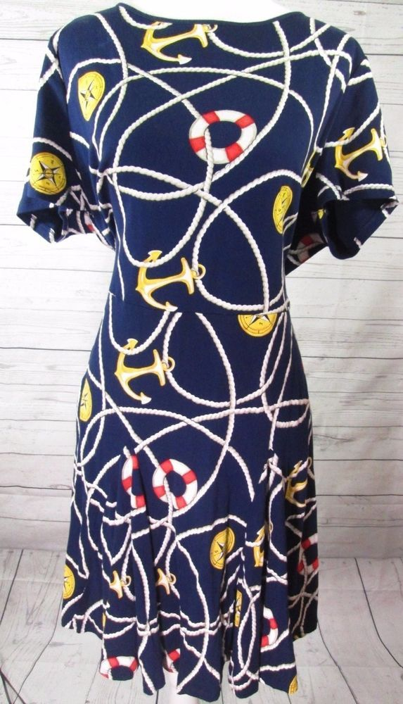 RALPH LAUREN Navy Blue Sailing Rope Anchor Nautical Fit Flare Dress Plus Size 2X #LaurenRalphLauren #FitandFlare #Cocktail