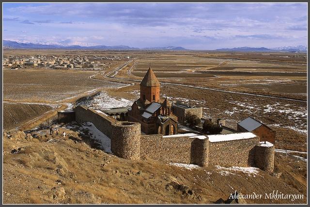 """The Khor Virap (Armenian: Խոր Վիրապ, meaning deep pit or """"deep well"""") is an Armenian Apostolic Church monastery located in the Ararat plain in Armenia."""