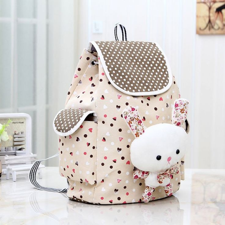 Cute Bunny Rabbit Dot Canvas Backpack