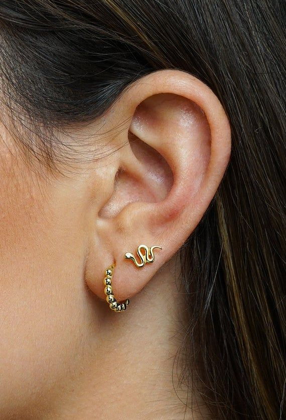 Gold Snake Themed Earring Hoops Huggies Gold and Crystal Snake Earrings Gold Snake Huggies