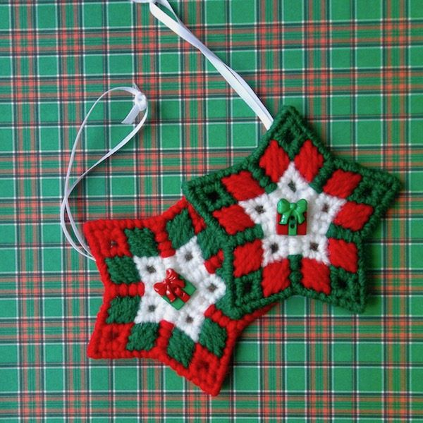 "Plastic Canvas: Christmas Ornaments -- ""Christmas Gifts Stars"" (set of 2) by ReadySetSewbyEvie on Etsy"