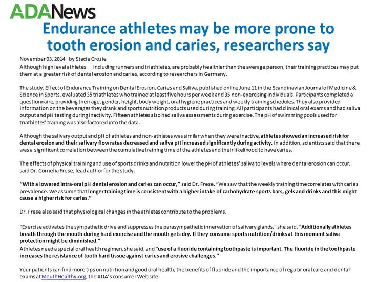 Athletes prone tooth erosion, caries