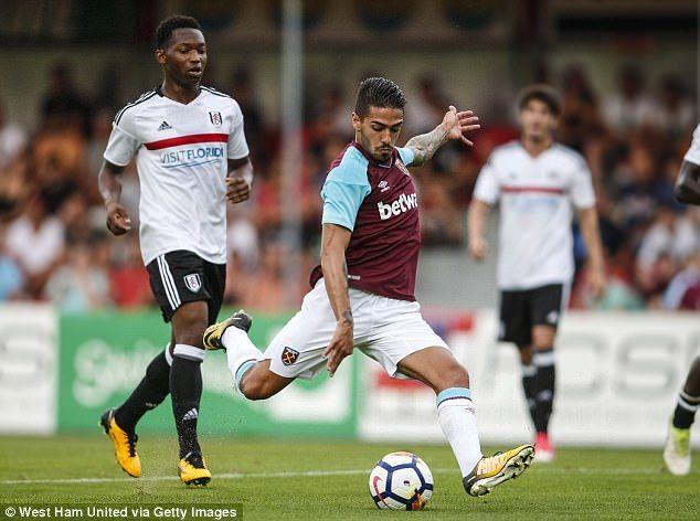 Manuel Lanzini fires West Ham on their way to victory in the 14th minute against Fulham