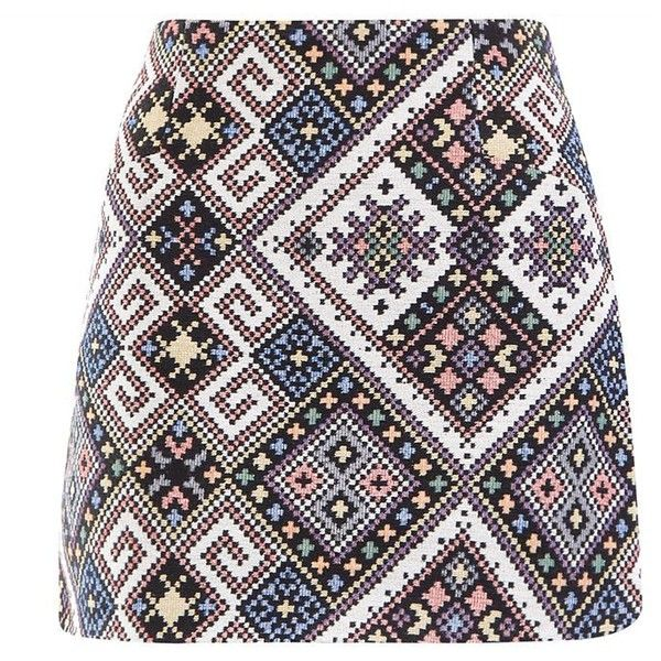 Cameo Rose Black Aztec Print Mini Skirt (22 PAB) ❤ liked on Polyvore featuring skirts, mini skirts, short black skirt, rose skirt, zipper skirt, short skirts and short mini skirts