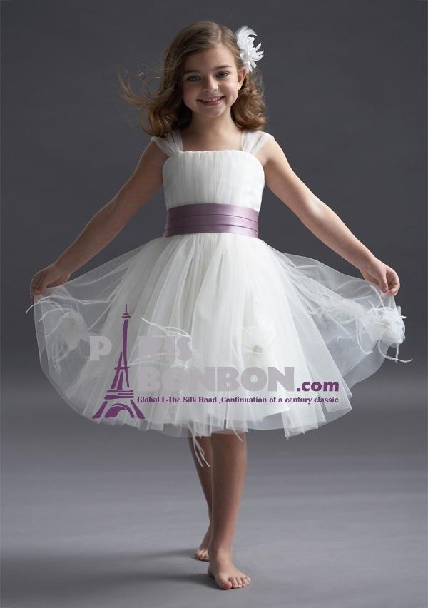 Princess Straps Knee-length in Tulle Flower Girl Dress