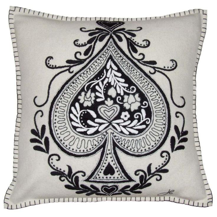 Pillow #black #spade #ace #cards #suit #cardsuit #symbol #pillow #white #filigree #homedecor