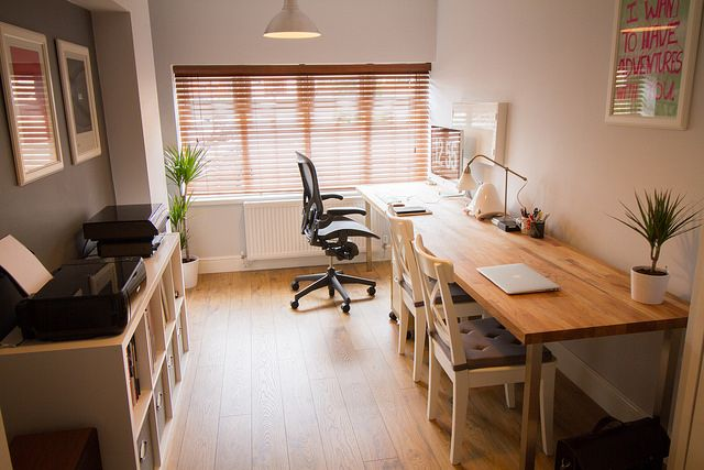 After… home office garage conversion | The desk is a single … | Flickr