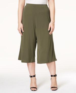 Ing Plus Size Culotte Pants - Green 3X