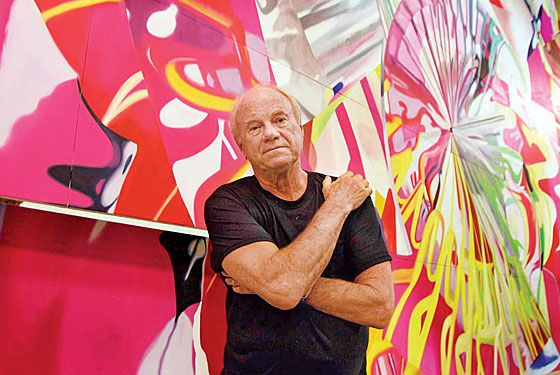 Favorite shot of Rosenquist w/his work. His color is breath-taking in this piece.