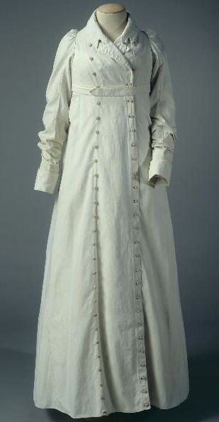 1805-1810 -- overcoat. I really like the double-breasted bottoms going all the way down the dress.