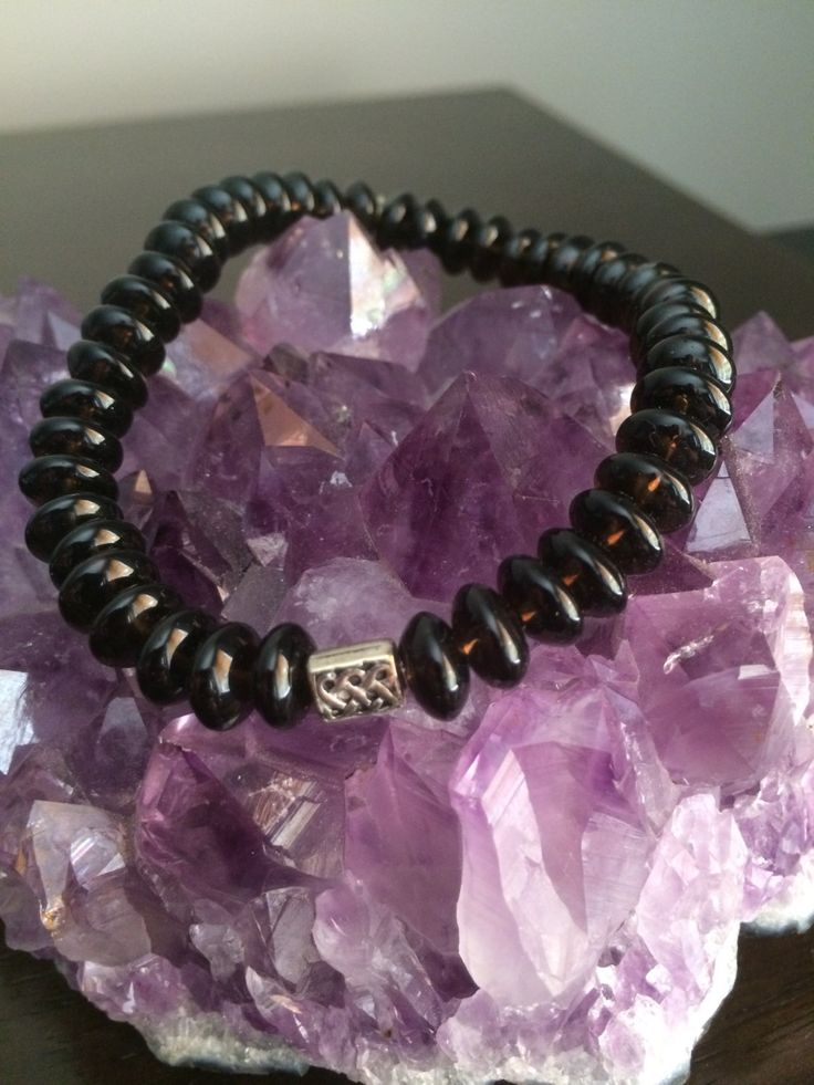 smokey quartz crystal bracelet by wellbeingbliss on Etsy