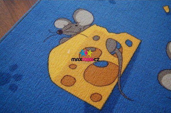 Dětský koberec MYŠ modrý