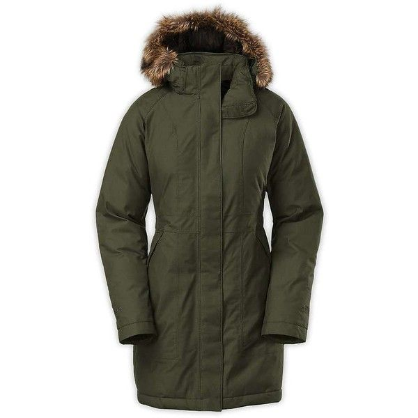 The North Face Women's Arctic Down Parka (15.255 RUB) ❤ liked on Polyvore featuring outerwear, coats, forest night green, green trench coat, the north face, green parka coat, green coat and trench coat