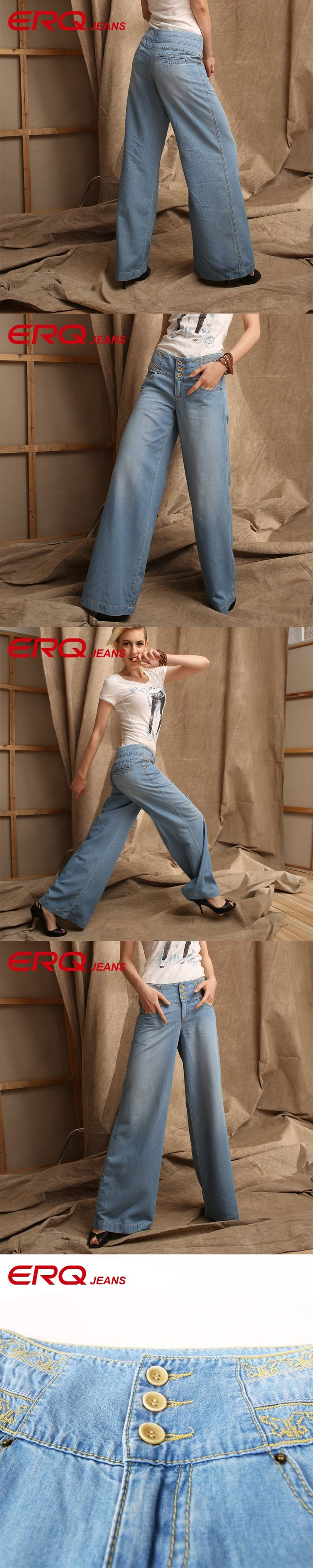 ERQ Thin Section Breathable High Waist Womens Jeans Denim Casual Wide Leg Pants Women Loose Big Yards Pants Flared Jeans 63011