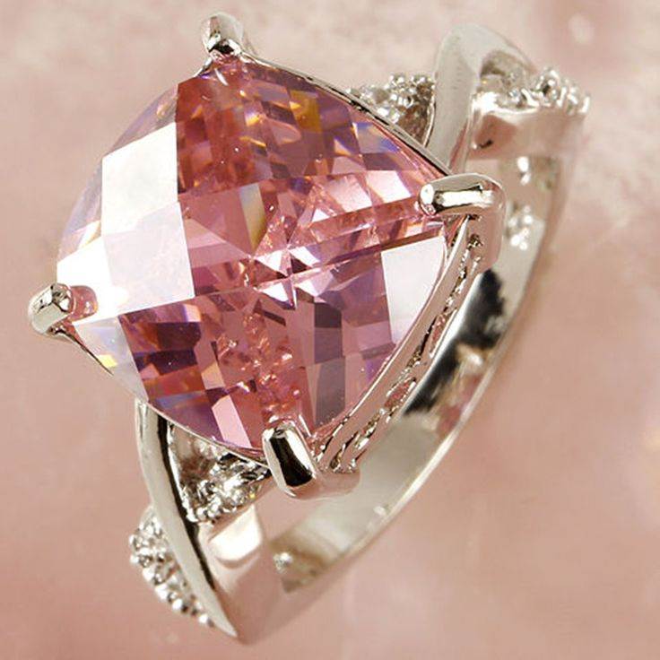 Romantic Big Pink Zircon Crystal Lovers Ring Couple Rings Silver plated wedding rings for women Gifts Free shipping