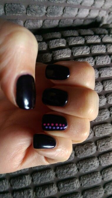 New nails with dark purple with neon pink amd purple spot dots