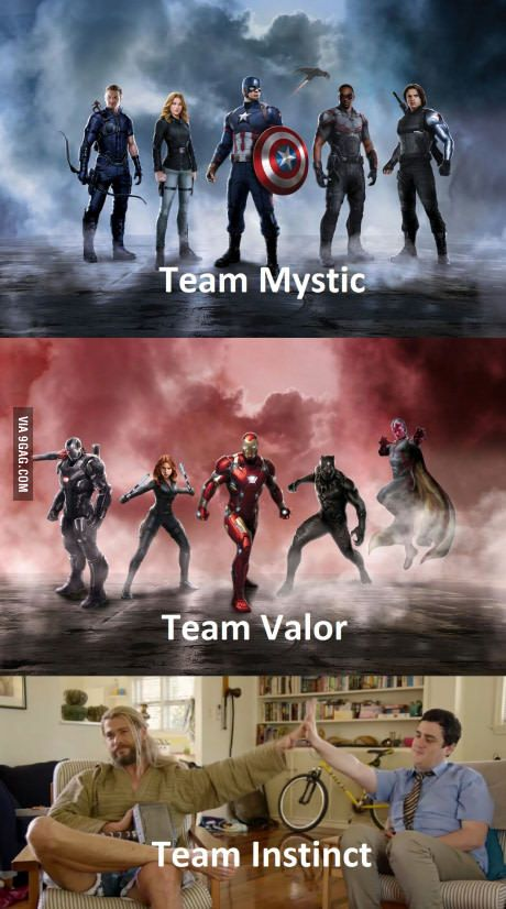 Pokemon Go teams in a nutshell xd TEAM INSTICT ALL THE WAY