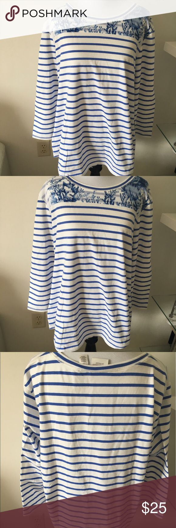 NWT Blue and White striped shirt 💝 NWT Blue and white striped nautical shirt from Weekends by Chico's. Shirt is a Chico's size 3 and features a seashell pattern neck overlay on blue and white stripes. Body of shirt is 28 inches in length from shoulder to bottom. Sleeves measure 19 inches in length from shoulder. Comes from smoke free home. 💋15% off bundles of 3 or more.                                   💋 No trades.   💋 No Holds…