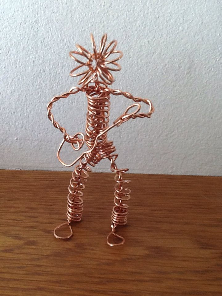 Wire man made from copper earth wire.