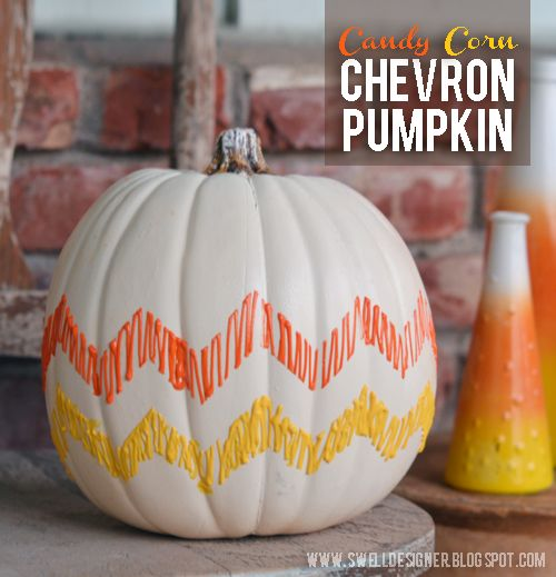 DIY ~ Candy Corn Chevron Pumpkin .. Using Puffy Paints !!