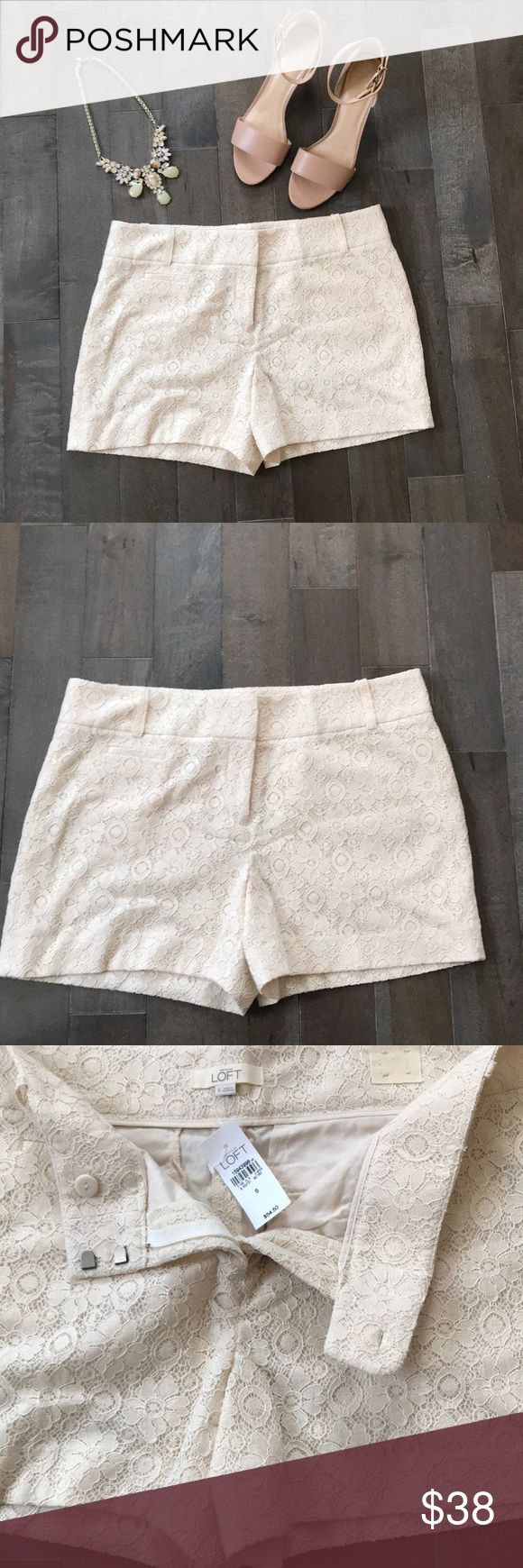 Shorts Ann Taylor loft cream lace shorts. Brand NWT. In excellent condition. Inseam is 4 inches. LOFT Shorts