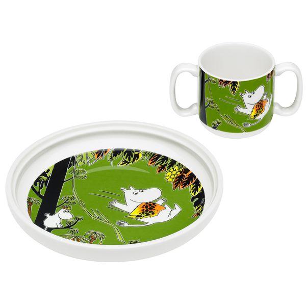 Moomin Jungle children's set, plate  cup